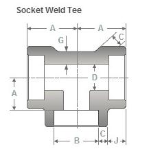 Socket Weld Tee Dimensions