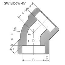 Socketweld 45 Deg Elbow Dimensions